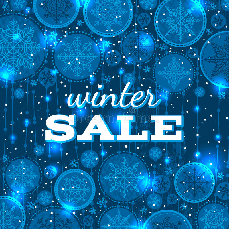 Fondo blu di natale con i fiocchi di neve e il offe illustrazione di stock