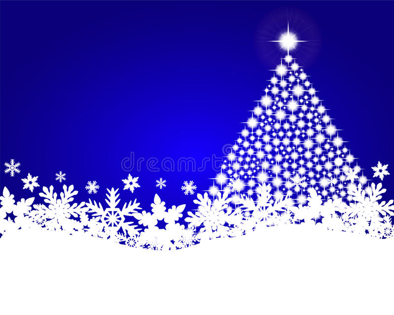Fondo blu di natale con l'albero di Natale brillante illustrazione di stock