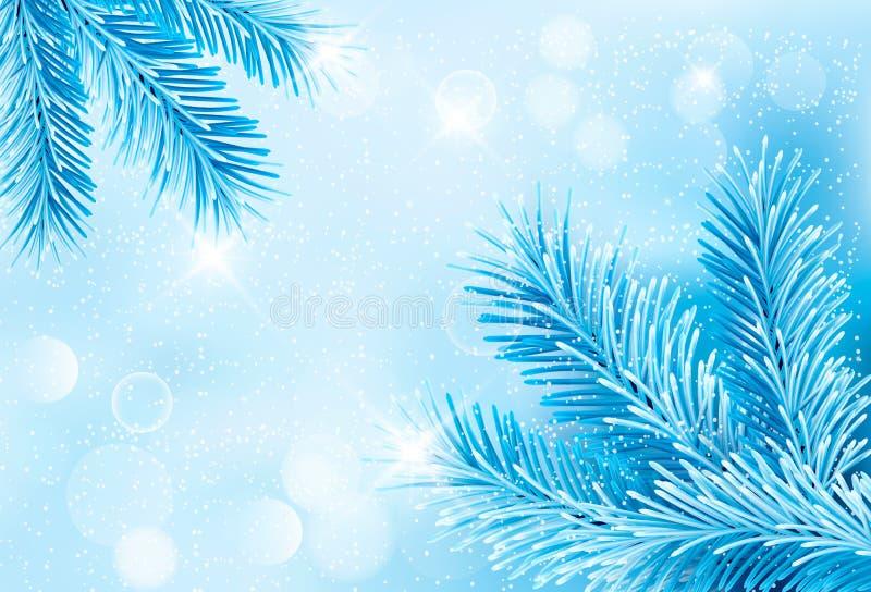 Fondo blu di Natale con la crusca dell'albero di Natale illustrazione vettoriale