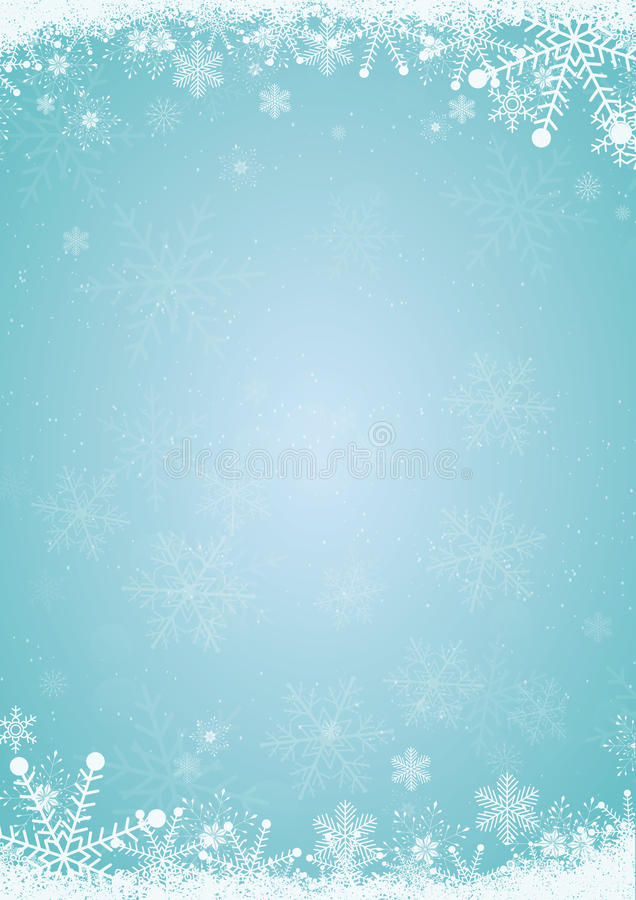 Fondo blu di natale di inverno con il confine del fiocco di neve royalty illustrazione gratis