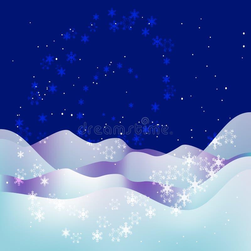 Fondo blu di notte del nuovo anno e di Natale illustrazione di stock