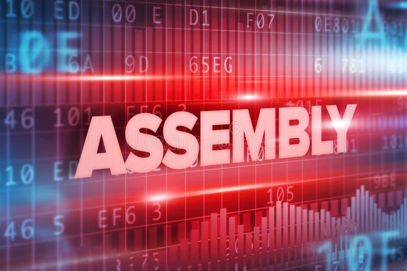 Fondo blu di rosso del testo di concetto astratto dell'Assemblea illustrazione vettoriale