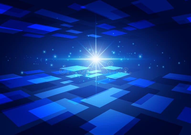 Fondo blu di tecnologia astratta con il chiarore luminoso royalty illustrazione gratis