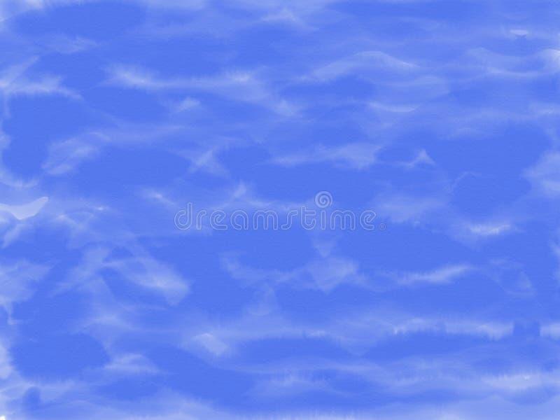 Fondo blu di tiraggio astratto della mano su struttura di carta, illustrazione, spazio della copia per testo, pittura dell'acquer immagini stock