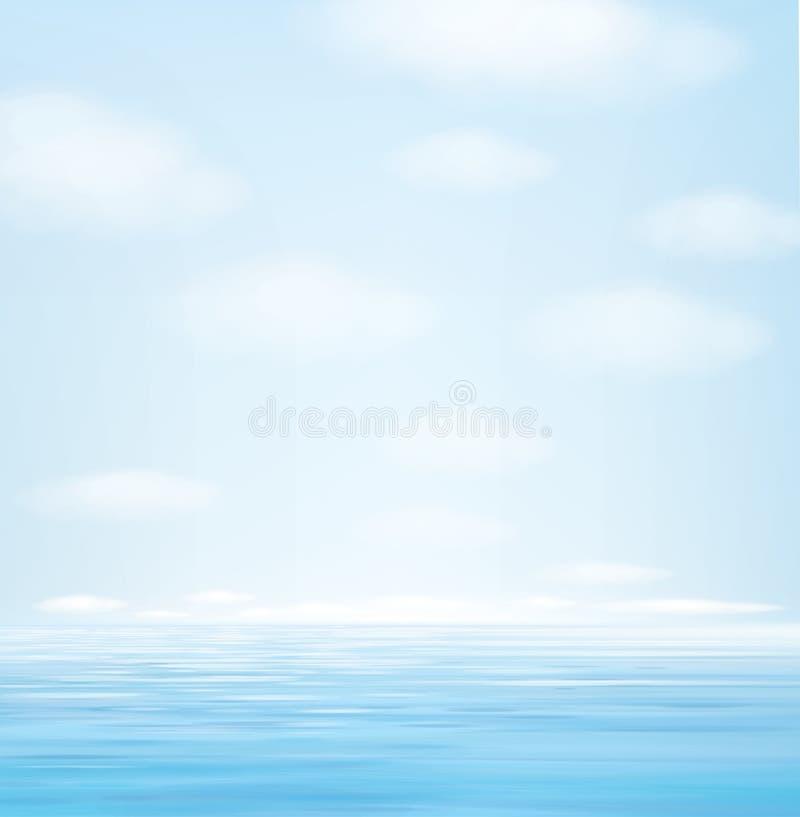 Fondo blu di vista sul mare di vettore royalty illustrazione gratis