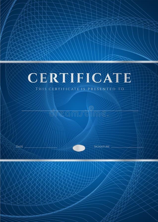 Fondo blu diploma/del certificato (modello) royalty illustrazione gratis