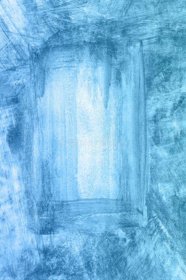 Fondo blu disegnato a mano astratto dell'acquerello, illustrazione del quadro televisivo illustrazione di stock