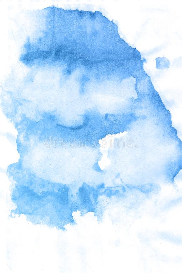 Fondo blu disegnato a mano astratto dell'acquerello, illustrazione del quadro televisivo royalty illustrazione gratis