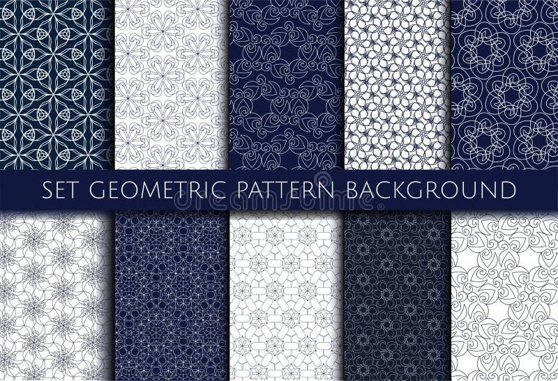 Fondo blu e bianco del modello geometrico stabilito di contorno illustrazione vettoriale