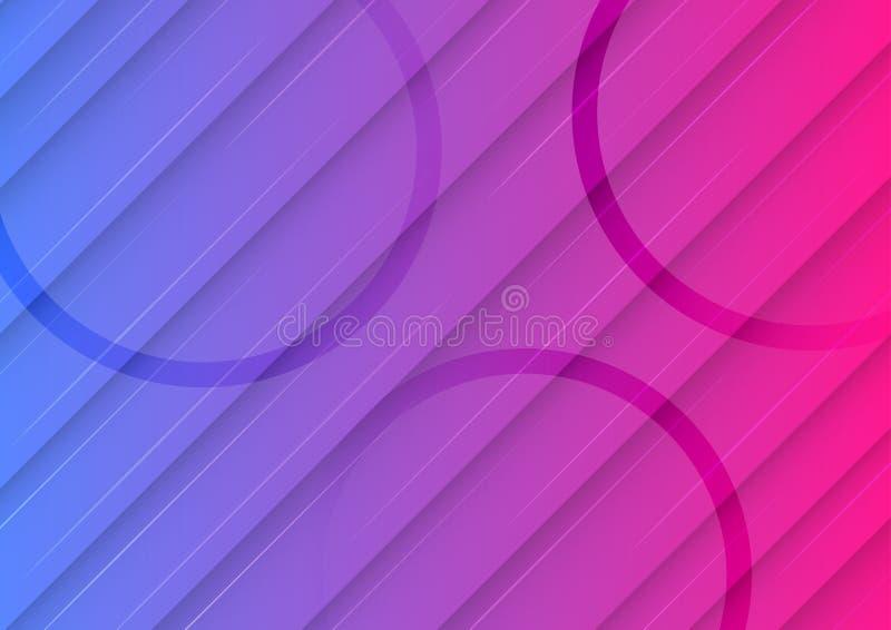 Fondo blu e rosa di pendenza con le linee diagonali ed il modello geometrico dei cerchi illustrazione vettoriale