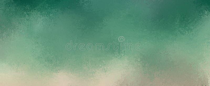 Fondo blu e verde di Teal con progettazione grigia e beige del confine di lerciume in lerciume strutturato morbido illustrazione vettoriale