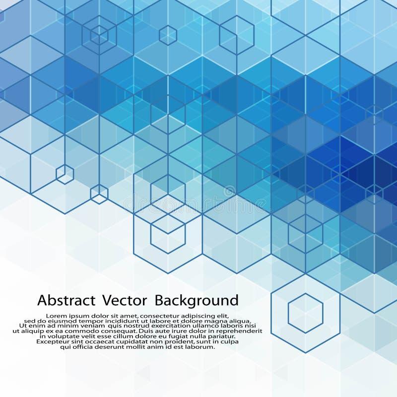 Fondo blu esagonale geometrico dell'estratto di vettore ENV 10 illustrazione di stock