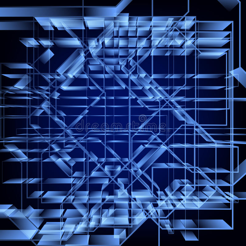 Fondo blu geometrico astratto di ciao-tecnologia Disegno di vettore illustrazione di stock