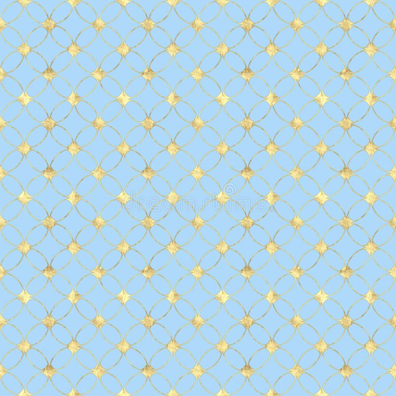 Fondo blu pastello senza cuciture con il modello d'annata astratto di scintillio dell'oro illustrazione vettoriale