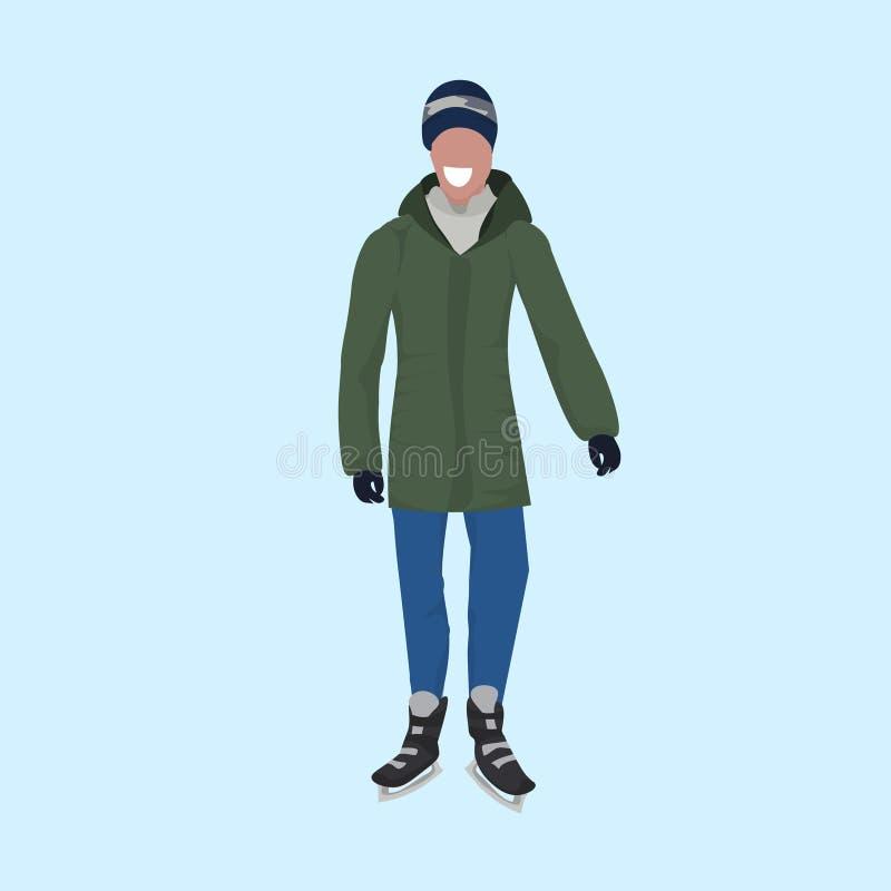 Fondo blu piano integrale pattinante d'uso del personaggio dei cartoni animati maschio del tipo dei vestiti di inverno del pattin illustrazione vettoriale