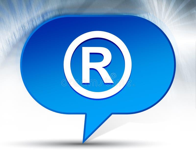 Fondo blu registrato della bolla dell'icona di simbolo immagine stock libera da diritti