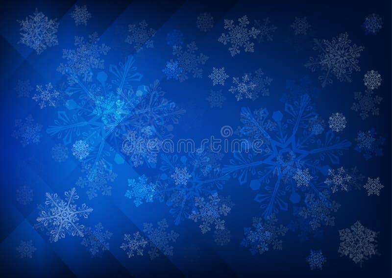Fondo blu scuro astratto con i fiocchi di neve royalty illustrazione gratis