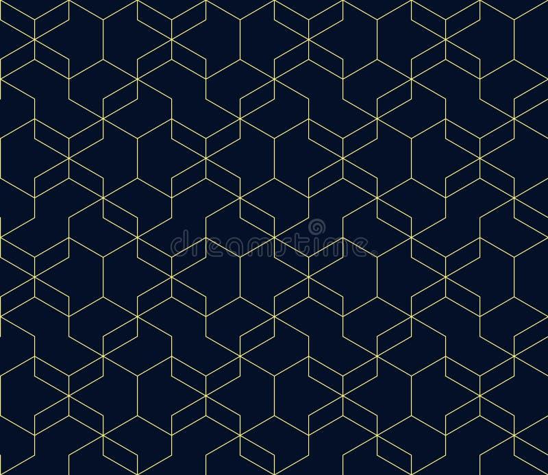 Fondo blu scuro astratto con le linee d'intersezione gialle Forme geometriche semplici modello senza cuciture ripetitivo di vetto royalty illustrazione gratis