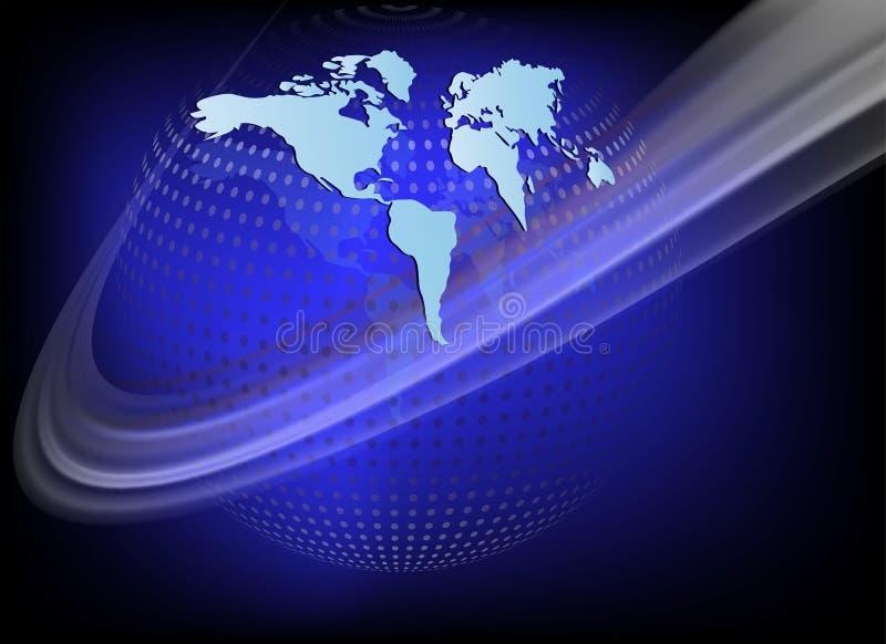 Fondo blu scuro con pianeta Terra royalty illustrazione gratis