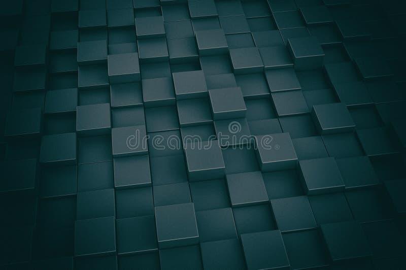 Fondo blu scuro delle scatole 3d illustrazione di stock