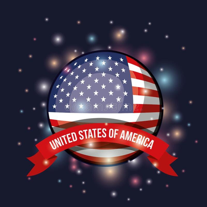 Fondo blu scuro di colore con luminosità della bandiera Stati Uniti d'America di forma circolare con nastro adesivo dell'etichett royalty illustrazione gratis