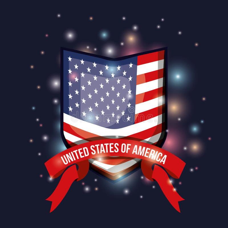 Fondo blu scuro di colore con luminosità della bandiera Stati Uniti d'America di forma dell'emblema con nastro adesivo dell'etich illustrazione vettoriale