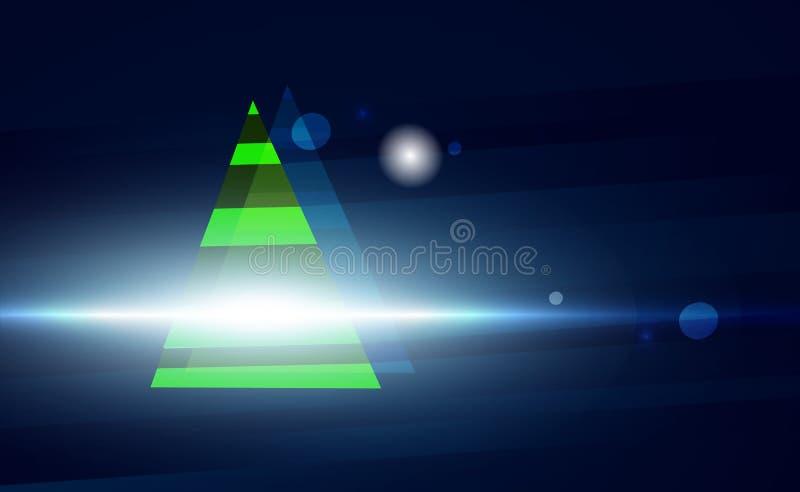 Fondo blu scuro di Natale con l'albero verde ed ornamenti dalle palle d'ardore dell'albero Moderno per i nuovi anni Illustrazione illustrazione di stock
