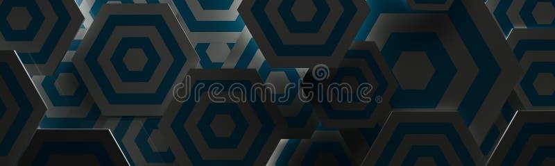 Fondo blu scuro e bianco alla moda di Hexangon & x28; Testa del sito Web, 3D Illustration& x29; royalty illustrazione gratis