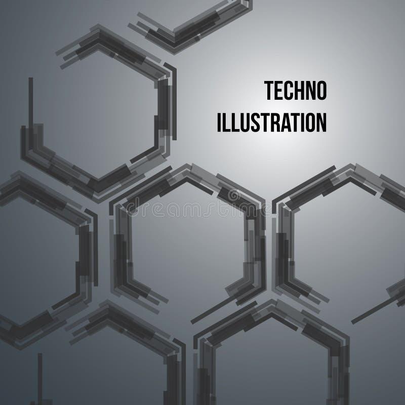 fondo blu scuro geometrico di Ciao-tecnologia con gli esagoni royalty illustrazione gratis