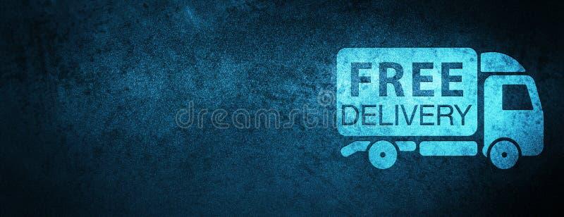 Fondo blu speciale dell'insegna dell'icona del camion di consegna gratuita illustrazione vettoriale