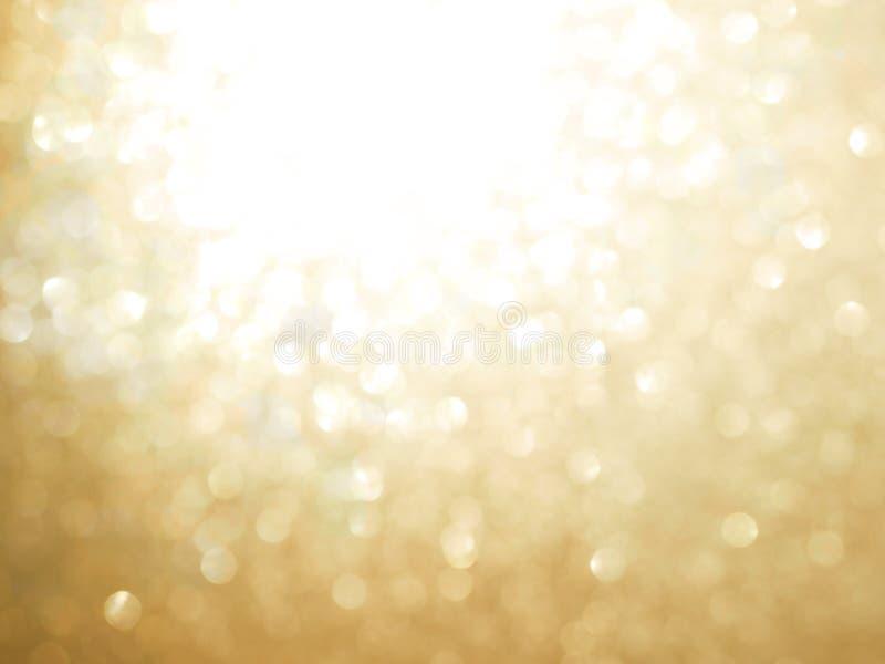 Fondo blured abstracto del oro y bokeh blanco imagen de archivo libre de regalías