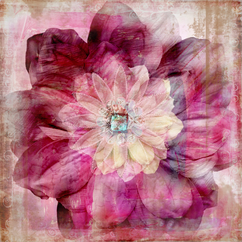 Fondo bohemio gitano floral del libro de recuerdos de la tapicería stock de ilustración