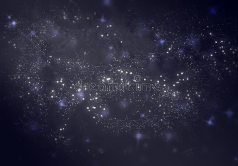 Fondo borroso abstracto del bokeh como textura, papel pintado como imagen del cielo nocturno azul marino en estrellas y Stardust stock de ilustración
