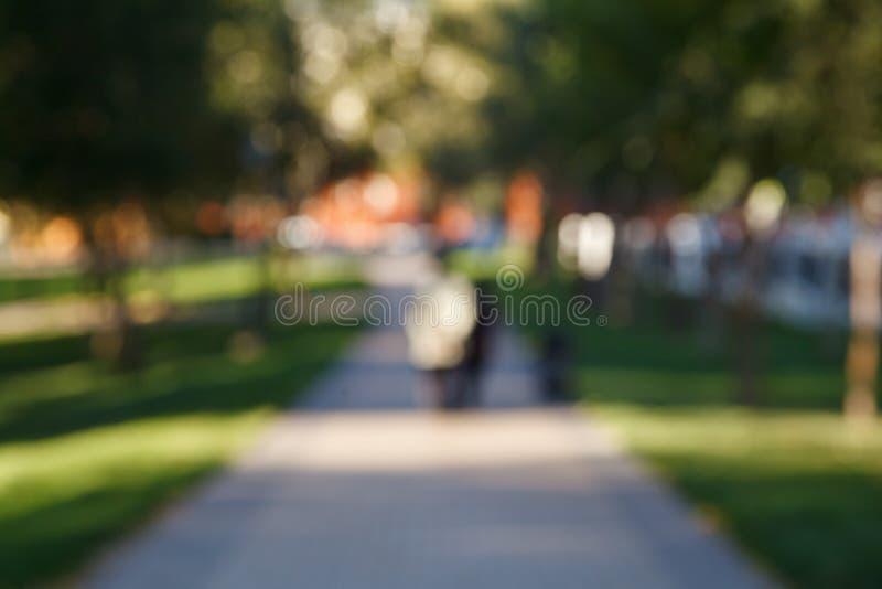 Fondo borroso abstracto del parque Gente en la trayectoria, día soleado, resplandor del sol, bokeh Contexto Defocused para el di fotografía de archivo libre de regalías