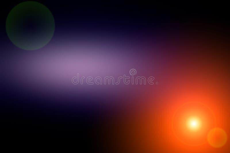 Fondo borroso abstracto y flash ligero de la luz Punto azul marino y púrpura, anaranjado fotografía de archivo