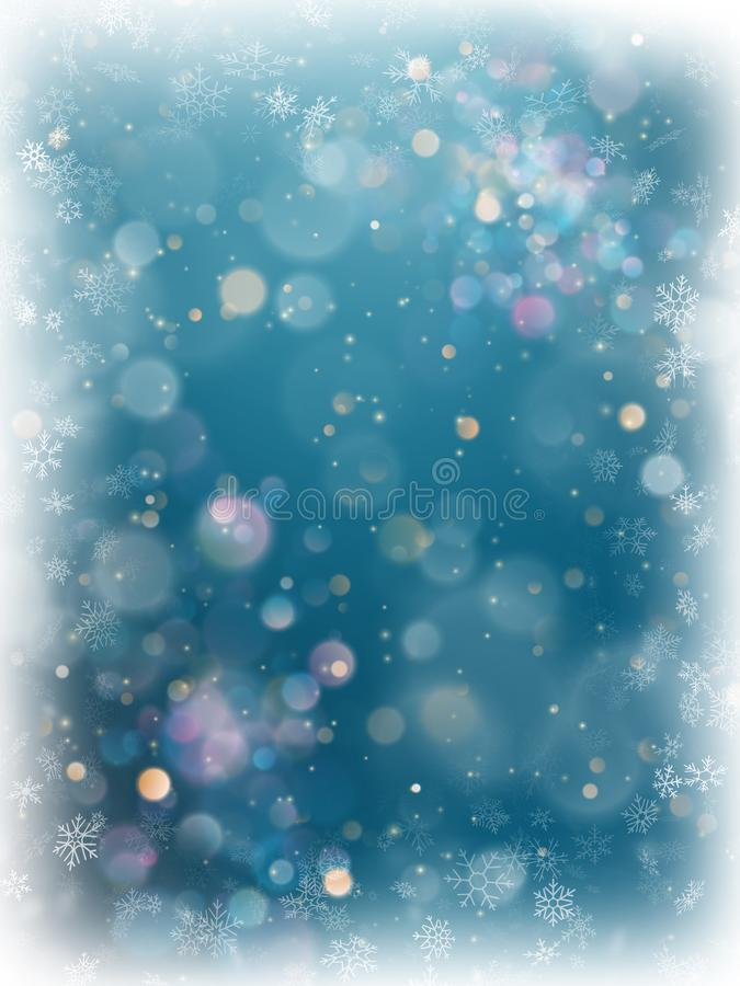 Fondo borroso azul de la luz del bokeh de la Navidad Contexto que brilla intensamente defocused del día de fiesta con las estrell ilustración del vector