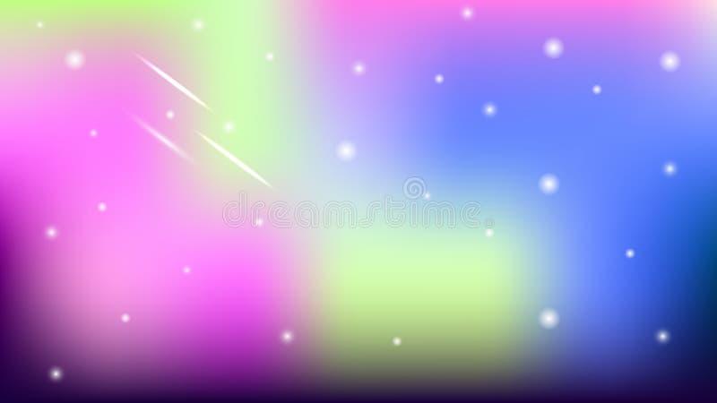 Fondo borroso colorido con las estrellas astronómicas ilustración del vector