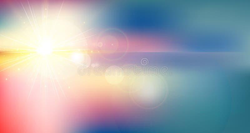 Fondo borroso crepúsculo del extracto de la pendiente del panorama colorido stock de ilustración