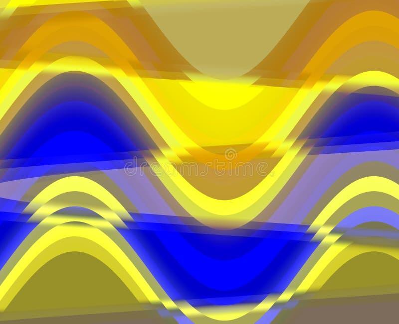Fondo borroso de cristal azul amarillo del extracto, geometrías, fondo brillante, geometrías coloridas ilustración del vector