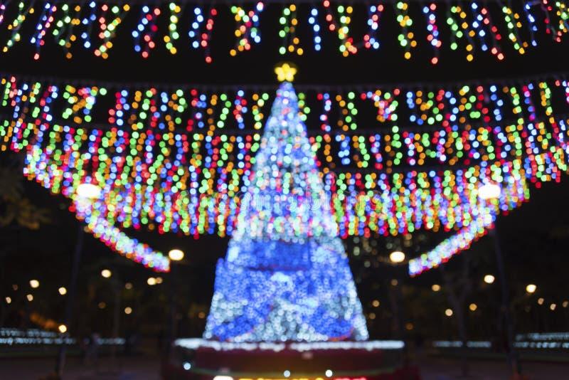 Fondo borroso del árbol de navidad fotografía de archivo libre de regalías