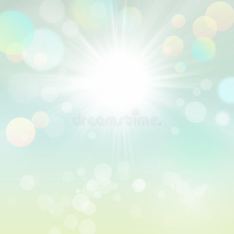 Fondo borroso hermoso de Bokeh del verde de la naturaleza de Sun del verano de la primavera con Sun stock de ilustración