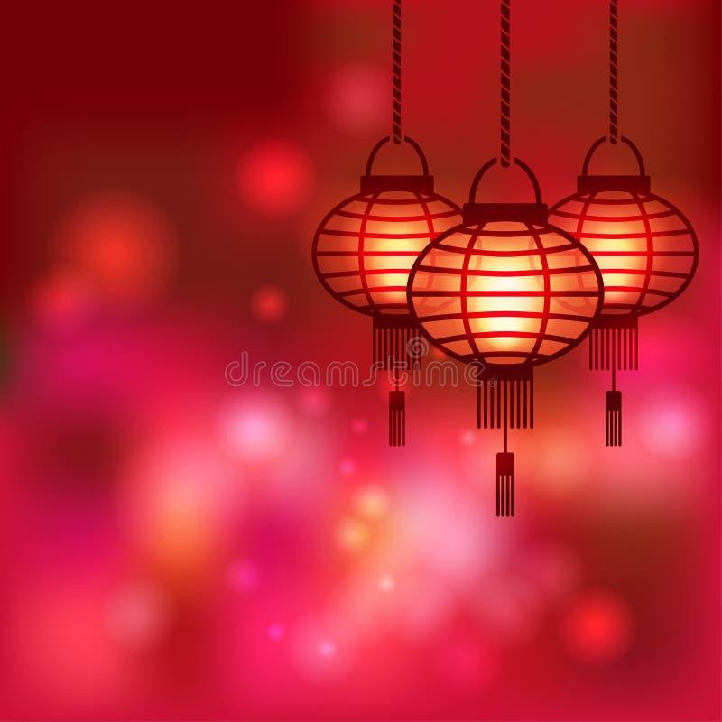 Fondo borroso linterna china stock de ilustración
