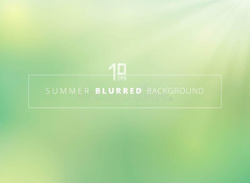 Fondo borroso naturaleza del verde del tiempo de verano con brillo de la luz del sol ilustración del vector