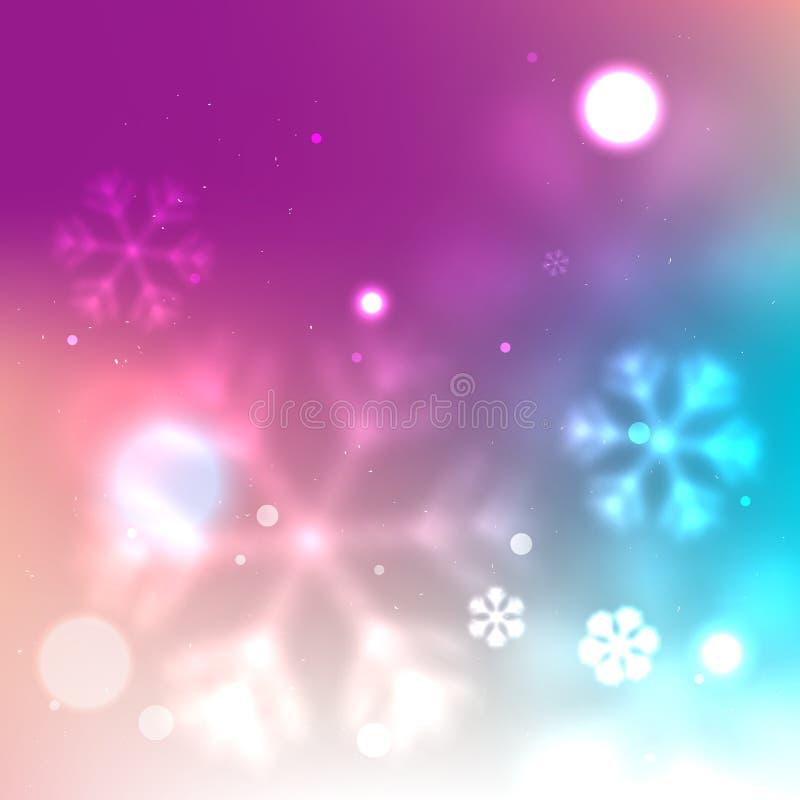 Fondo borroso púrpura con los copos de nieve que brillan intensamente ilustración del vector