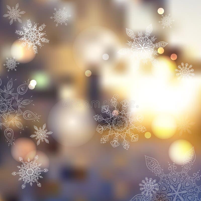Fondo borroso vector del extracto del invierno puesta del sol, helada libre illustration