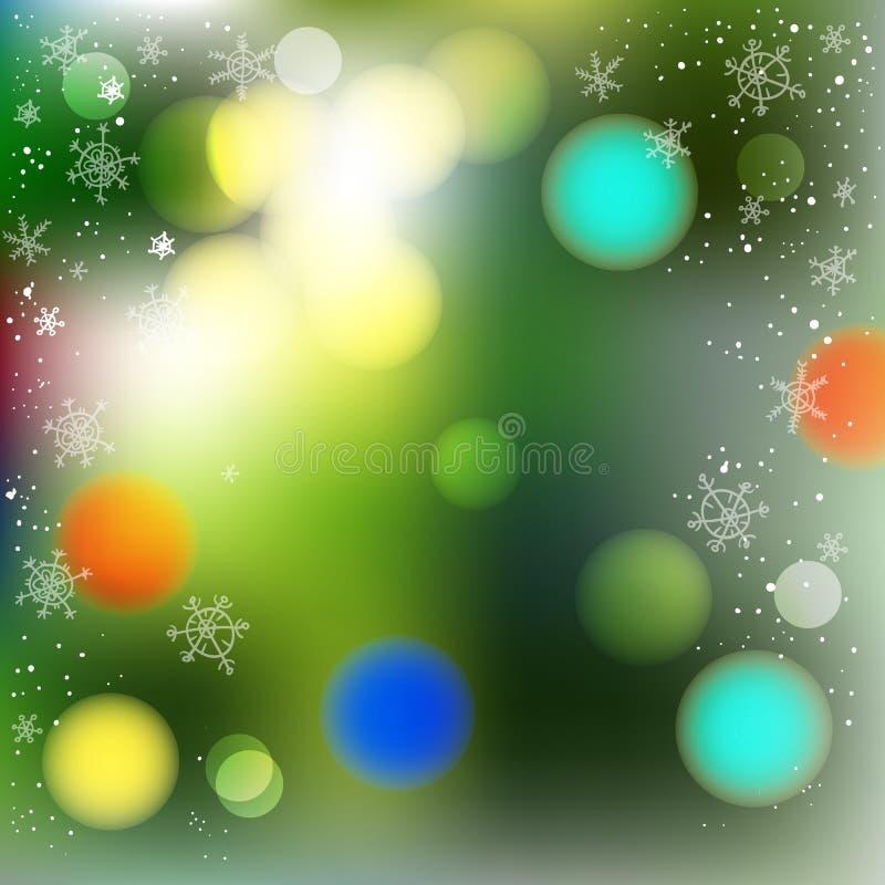 Fondo borroso vector del extracto del invierno Verde del árbol de navidad ilustración del vector