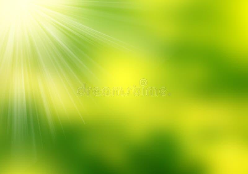 Fondo borroso verde abstracto, efectos luminosos y explosión del sol ilustración del vector