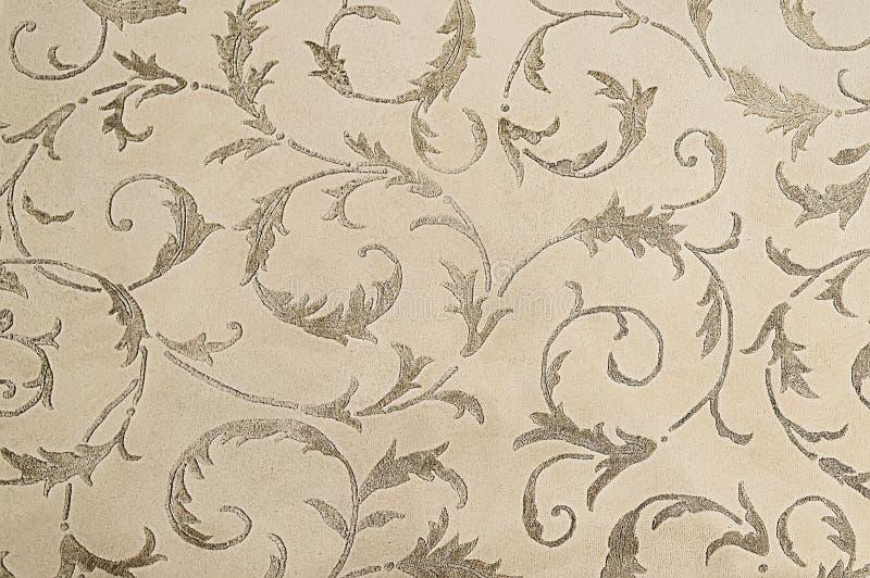 Fondo botanico beige di struttura del modello del tappeto fotografia stock libera da diritti