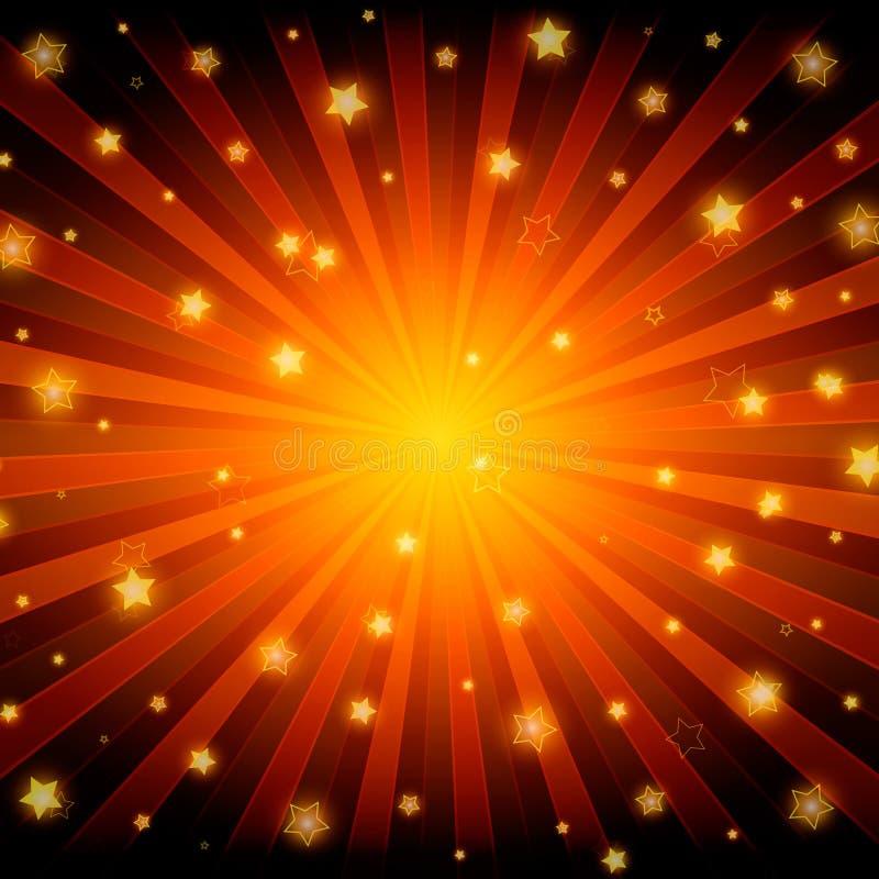 Fondo brillante abstracto del rojo de las estrellas stock de ilustración