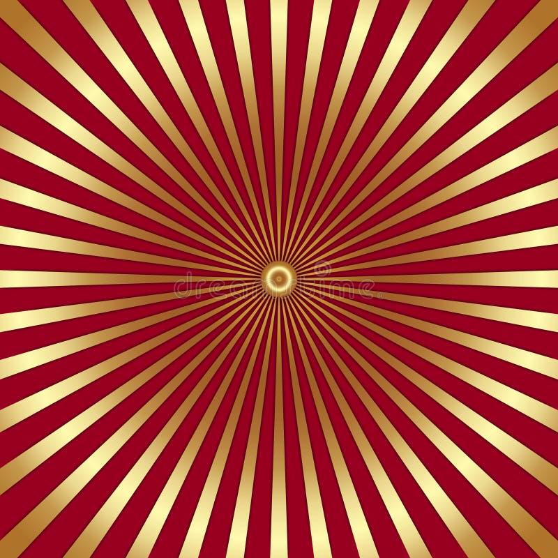 Fondo brillante abstracto del vector con los rayos de oro stock de ilustración